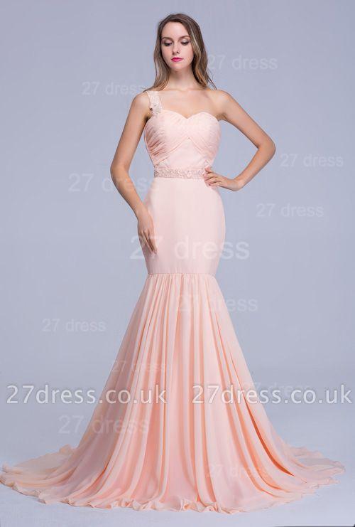 Modern One Shoulder Mermaid Chiffon Evening Dress UK Sweep Train