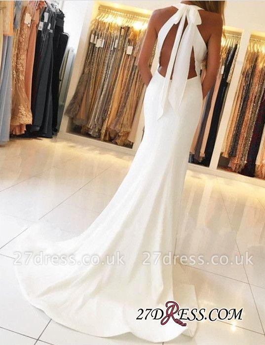 Mermaid Sleeveless Simple Side-Slit Halter Open-Back Evening Dress UKes UK BA7367