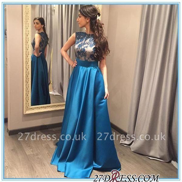 Appliques Blue A-Line Zipper Sleeveless Gorgeous Prom Dress UK