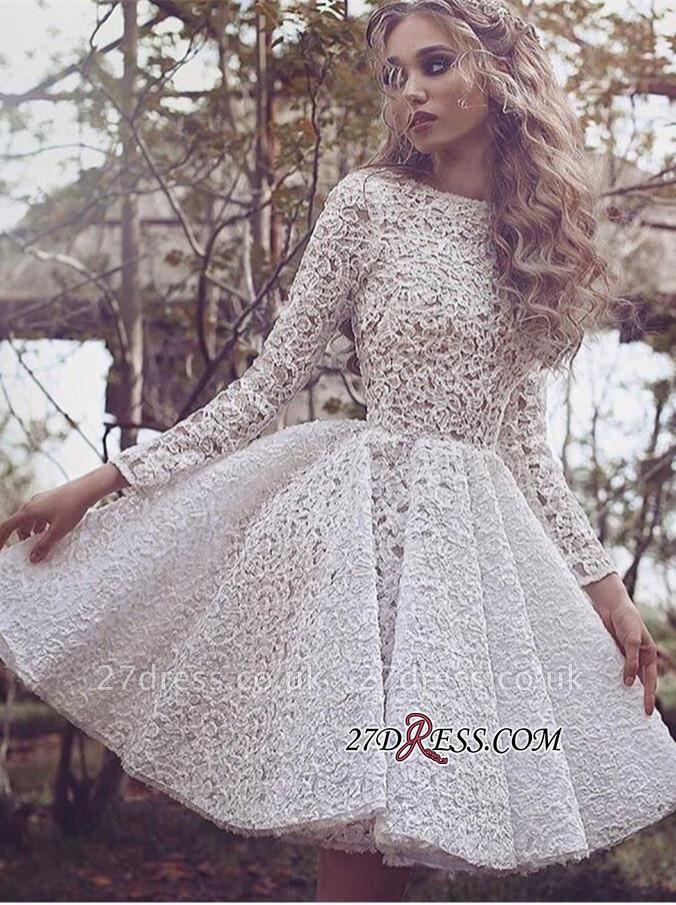 White Long-Sleeves Short Gorgeous Full-Lace Homecoming Dress UK BA3645