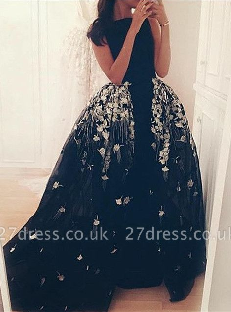 Gorgeous Long Overskirt Party Dress UK Appliques Tulle Evening Gown