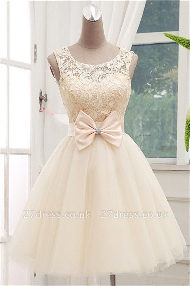 Timeless Sleeveless Lace Cocktail Dress UK Bowknot Tulle Short Prom Gowns