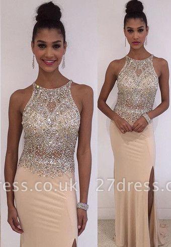 Stunning Sleeveless Scoop Evening Dress UK Crystals Split Floor Length TH027