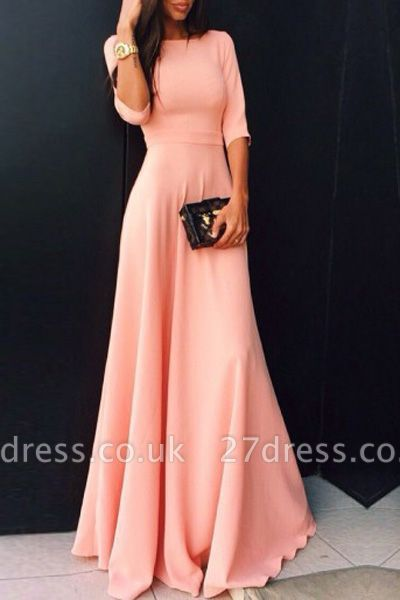 Chic A-line Jewel Half Sleeve Evening Dress UK Pink Floor-length High Quality