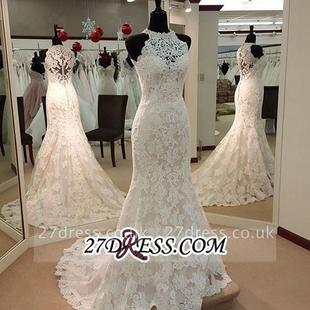 Sleeveless Buttons Court-Train Elegant Sexy Mermaid Lace Wedding Dresses UK