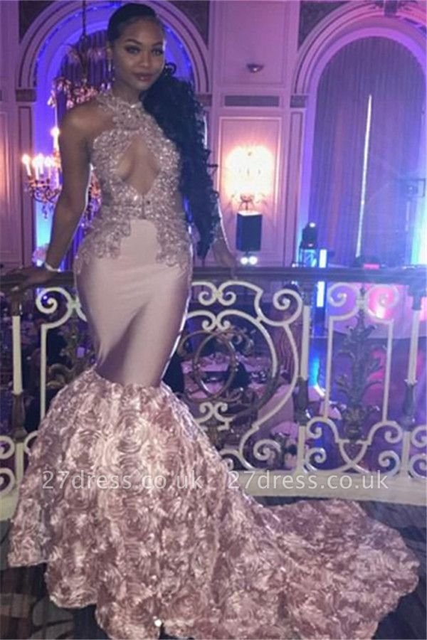 Pink Lace Prom Dress UK | Mermaid Evening Gowns With Bottom Flowers BA7910