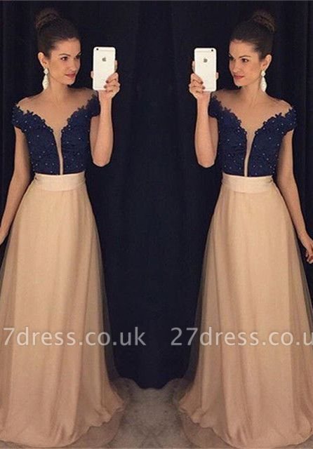Sexy Off-the-shoulder A-line Evening Dress UK Beadings Lace Appliques