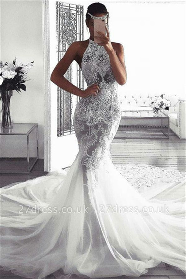 Elegant Sleeveless Halter Wedding Dresses UK |  Sexy Mermaid Tulle Cheap Bridal Dresses