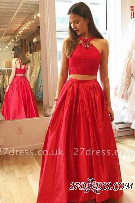 Gorgeous Red Halter A-Line Crystal Two-Pieces Prom Dress UKes UK