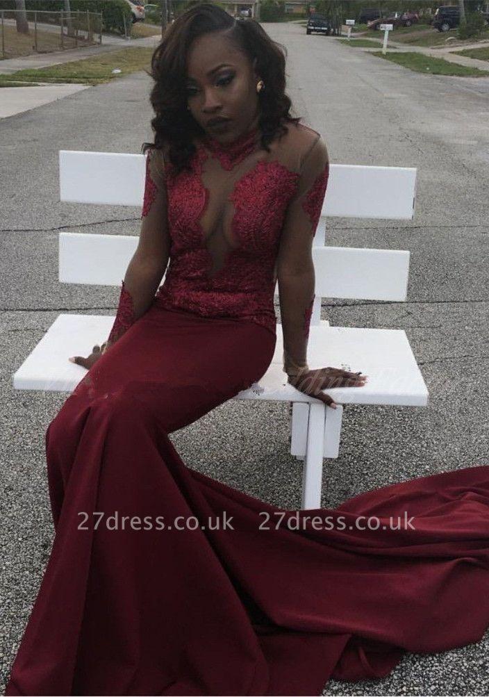 Burgundy mermaid prom Dress UK, long sleeve evening gowns