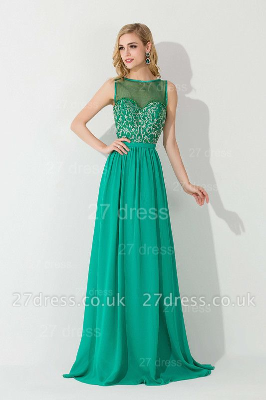 Modern Illusion Sleeveless A-line Evening Dress UK Chiffon Crystals