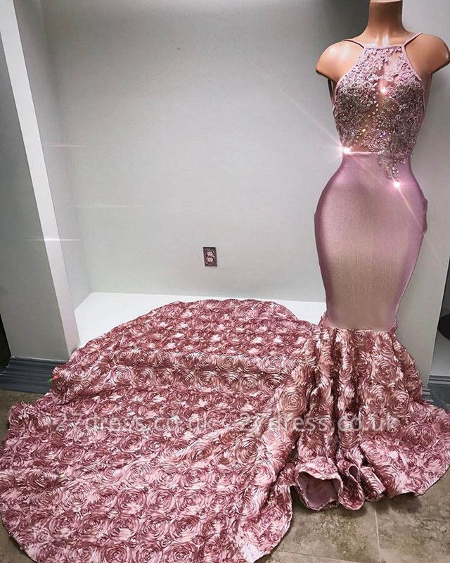 Gorgeous Halter Mermaid Pink Prom Dress UK Lace With 3D-Floral Flowers Bottom BA7797
