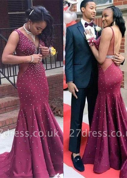 Newest Straps Beads Mermaid Prom Dress UK   Burgundy Prom Dress UK BK0