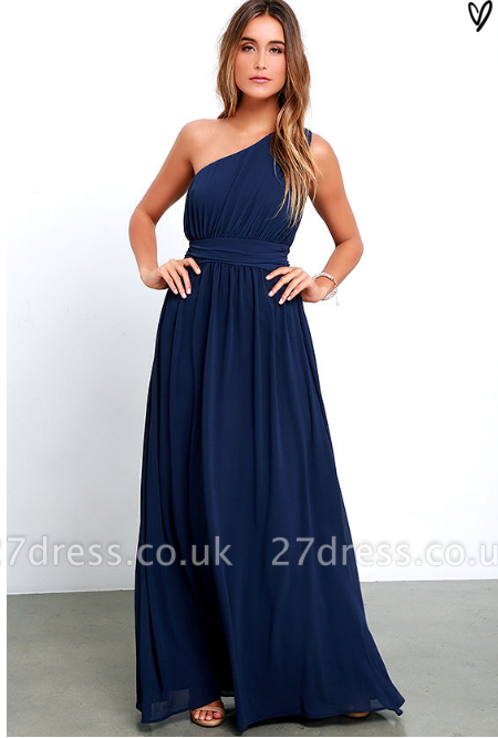 Sexy Navy Blue One Shoulder Prom Dress UKes UK Chiffon Long Floor Length BA3598
