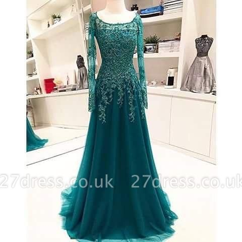 Long-Sleeves Scoop Beaded Appliques Lace A-Line Blue Evening Dress UK BA6753