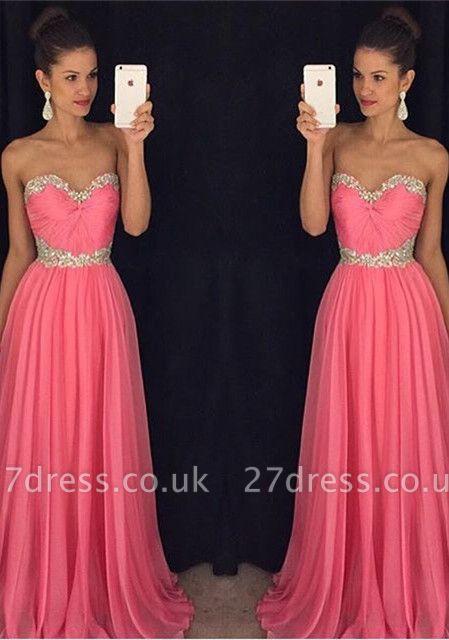 Newest Chiffon Pink Beadings A-line Evening Dress UK Sweetheart Sleeveless RU046