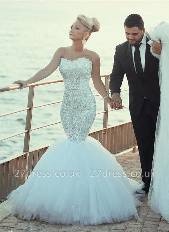 Elegant Sweetheart Sexy Mermaid Lace Wedding Dresses UK Sexy Mermaid Tulle