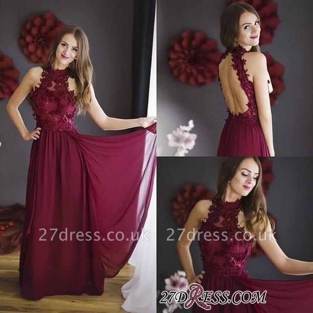Lace Halter Chiffon Floor-length Sheath Burgundy Sleeveless Prom Dress UK