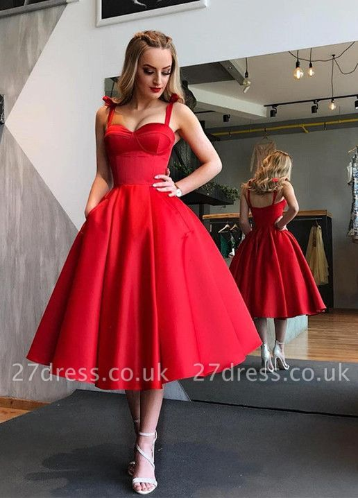 Sexy Sweetheart Red Short Prom Dress UK | 2019 Tea-Length Homecoming Dress UK