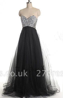 Gorgeous Sweetheart Sleeveless Tulle Prom Dress UK With Sequins