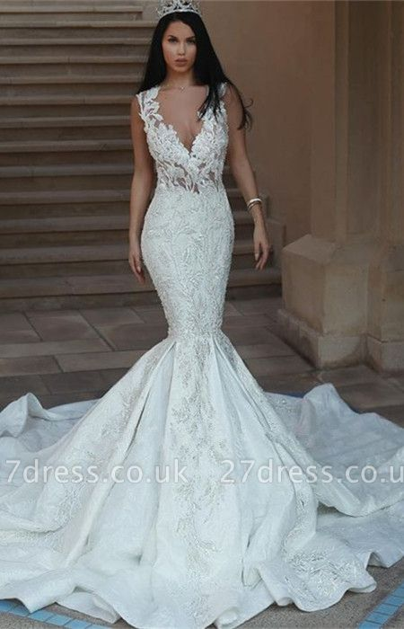 Gorgeous V-Neck Wedding Dress   Sexy Mermaid Lace Bridal Gowns On Sale