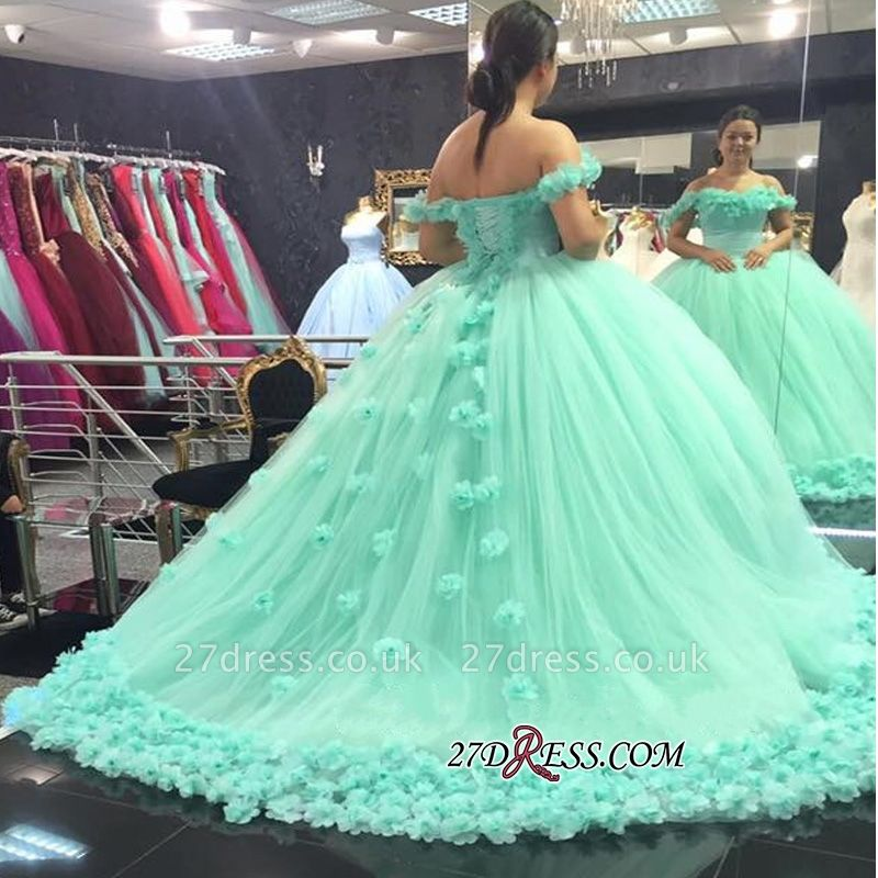 Off-The-Shoulder Cloud Rose-Flowers Mint-Green Ball-Gown Prom Dress UKes UK