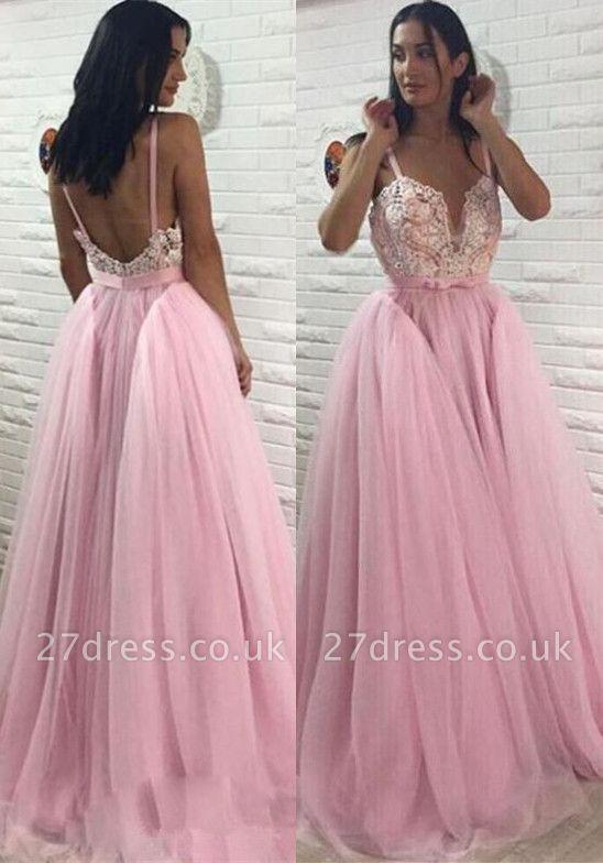 Sexy Pink Tulle Evening Dress UK | Long Lace Prom Dress UK