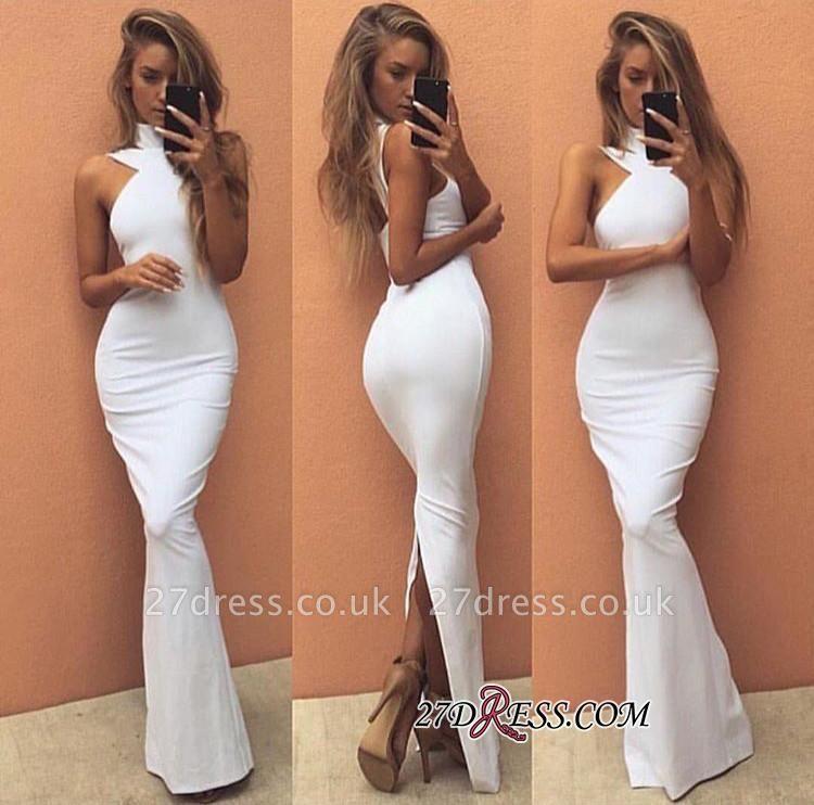 High-Neck Sleeveless White Elegant Long Prom Dress UK BA4800