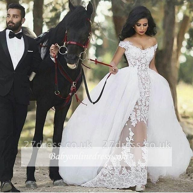 Lace Off-the-Shoulder Gorgeous Sheer Overskirt Detachable Wedding Dresses UK LY36