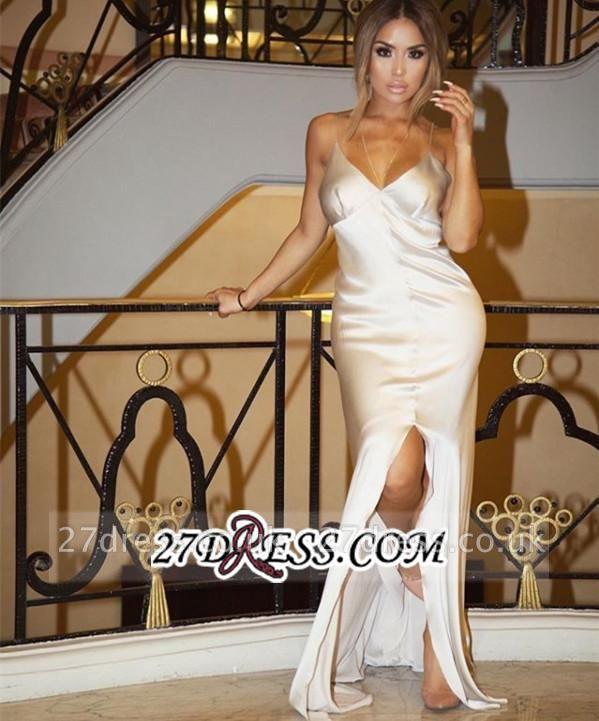 Spaghetti-Straps Split Sheath V-Neck Elegant White Prom Dress UK