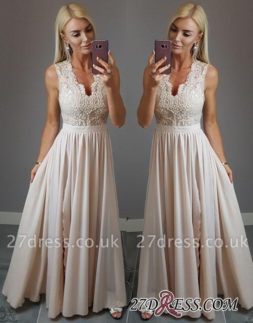 V-neck Stylish Split-front Lace Chiffon Champagne Evening Dress UK