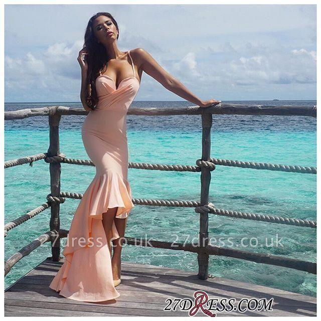 Nude Sweetheart Luxury Mermaid Hi-Lo Spaghetti-Starps Prom Dress UK