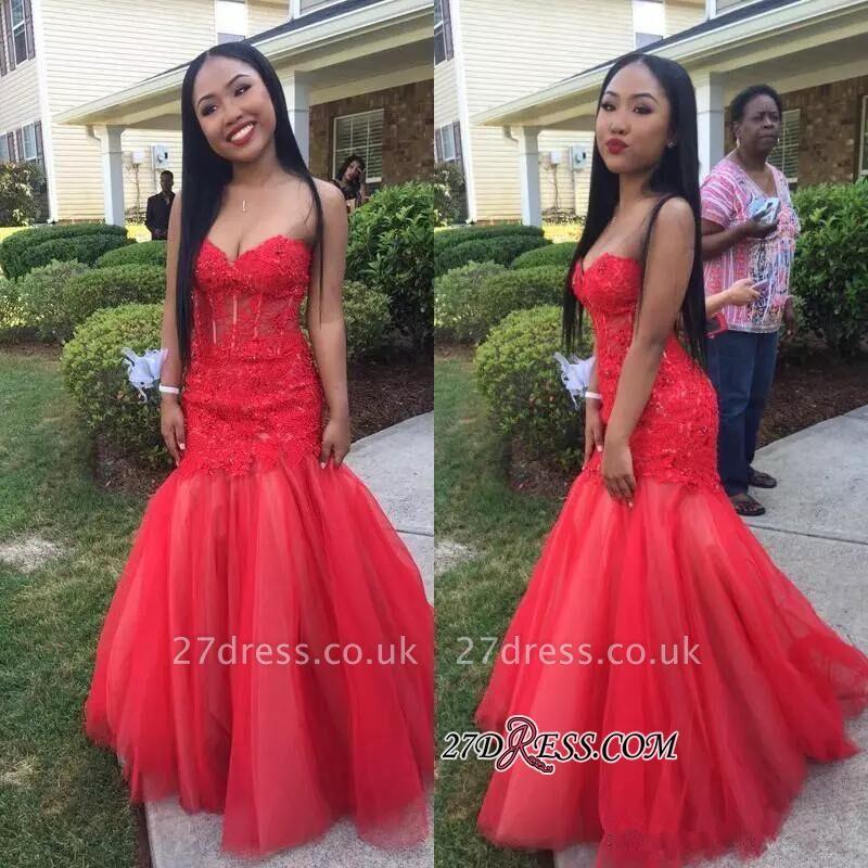 Mermaid Lace Tulle Floor-Length Sleeveless Sweetheart Red Prom Dress UKes UK