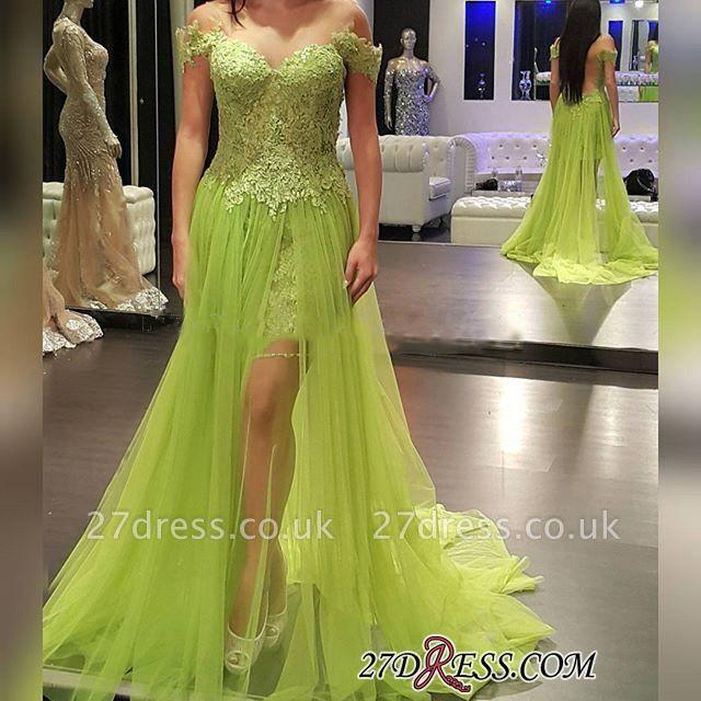 Lace Off-the-Shoulder Popular Tulle A-line Prom Dress UK
