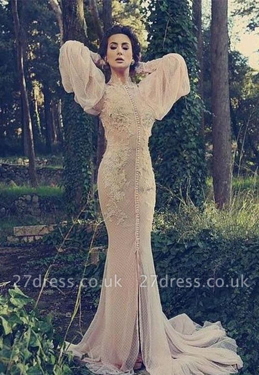 Modern High Neck Long Sleeve Mermaid Prom Dress UK With Lace Appliques