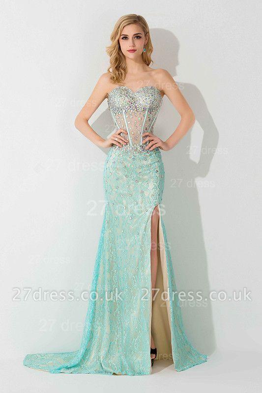 Gorgeous Front Split Crystals Evening Dress UK Sweetheart Sleeveless