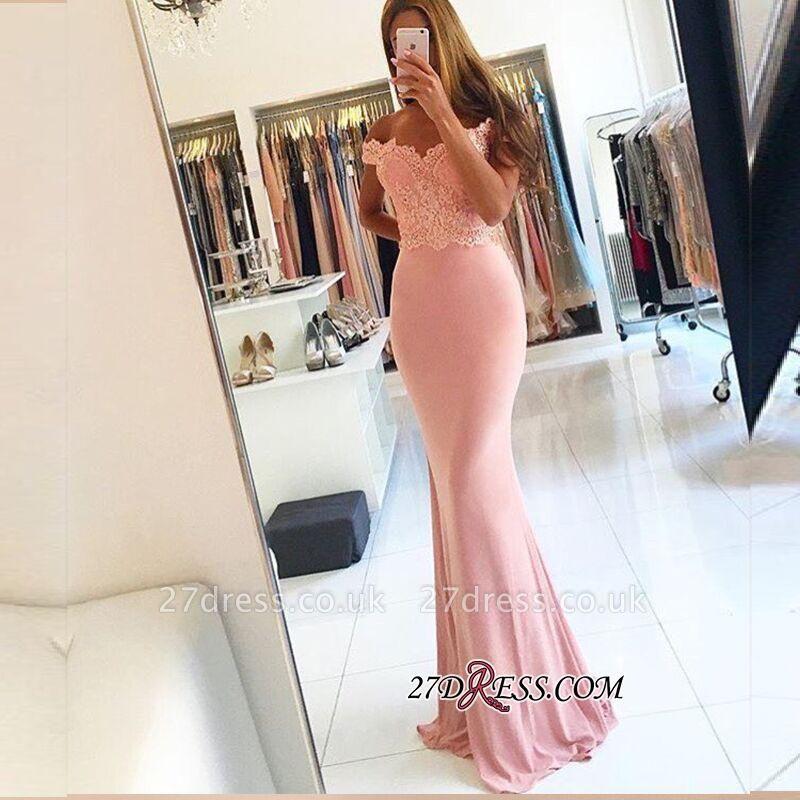 Lace Beading Off-the-shoulder Pink Elegant Sheath Spandex Long Sexy Evening Dress UKes UK BA4148
