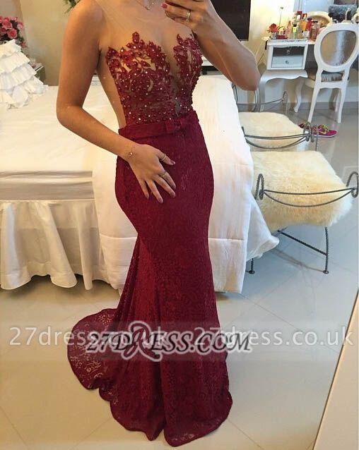 Elegant Illusion Sleeveless Long Prom Dress UK Pearls Lace Mermaid Evening Gown BT0