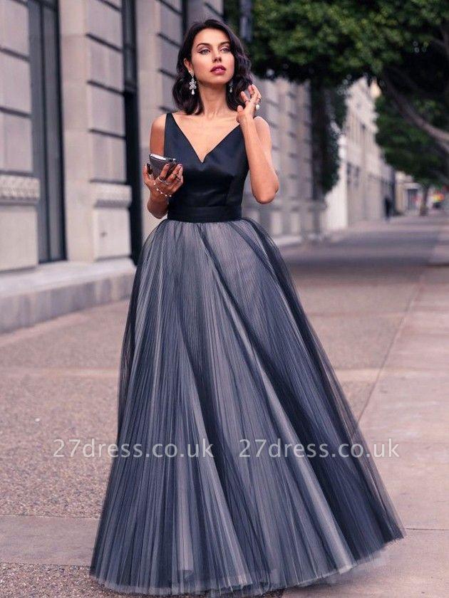 Luxury V-Neck Sleeveless Tulle Floor Length Evening Dress UK