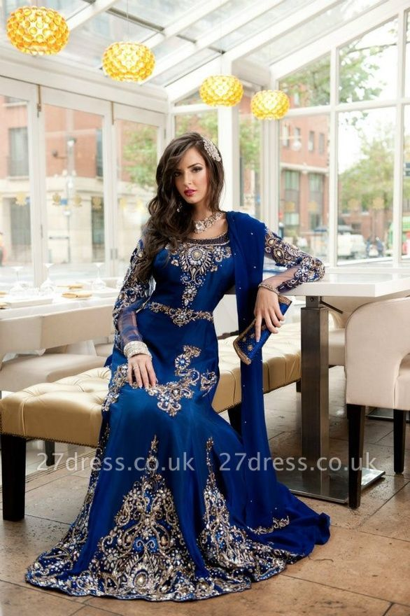 Sexy Lace Appliques Beadings Arabic Evening Dress UK Long Sleeve
