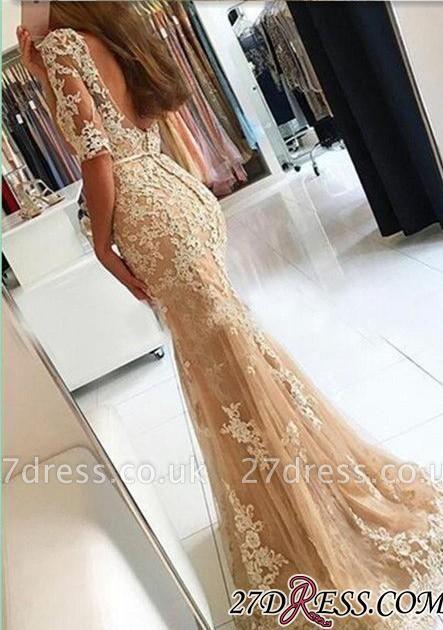 Lace Open-Back Half-Sleeves Mermaid Champagne Prom Dress UKes UK BA4982