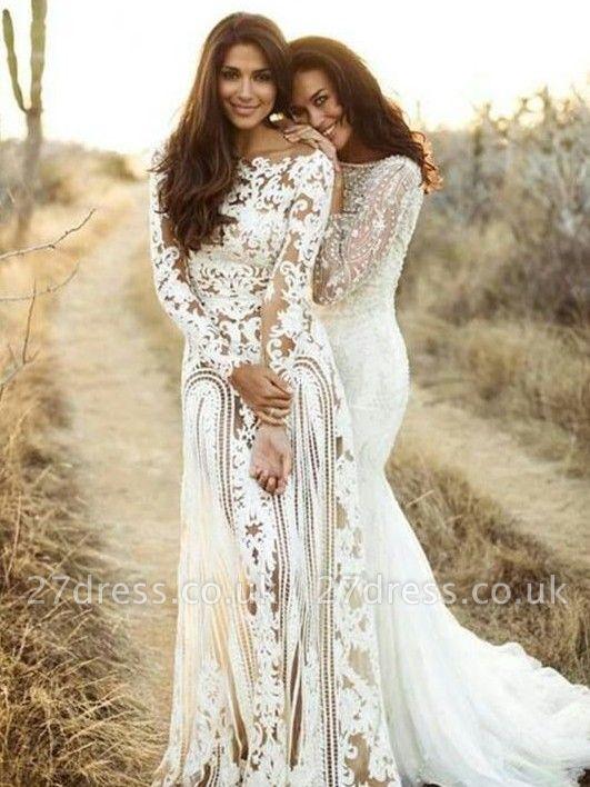 Sheath Bateau Long Sleeves Open Back Lace Wedding Dress