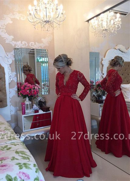 Delicate Red Chiffon Lace Prom Dress UK Pearls Long Sleeve BT0