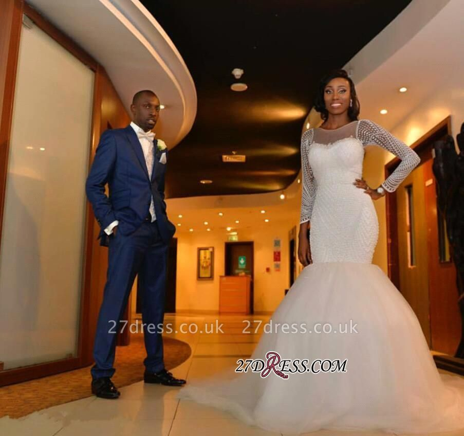 Tulle Long-Sleeve Gorgeous Beadss Zipper Wedding Dress BK0