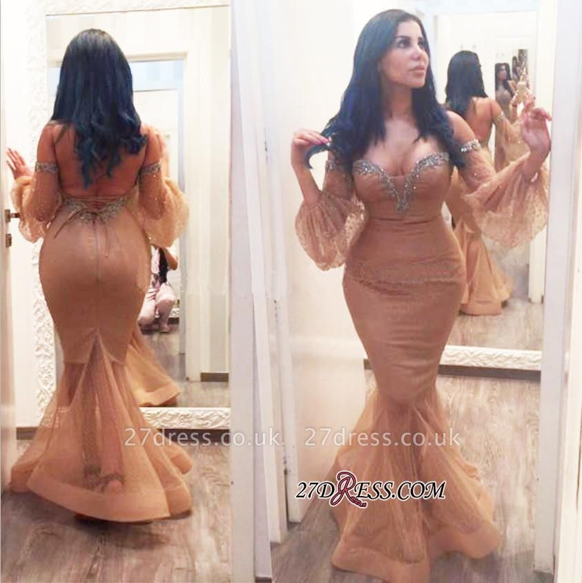 Off-the-Shoulder Hot Sequins Mermiad Backless Plus-Size Evening Gown