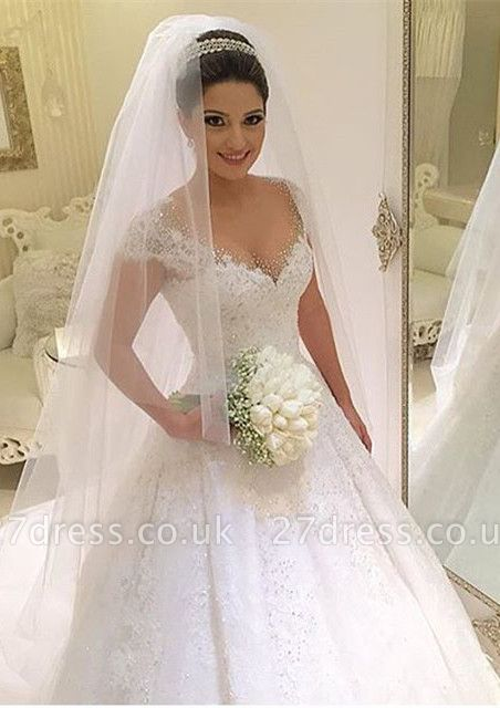 Newest V-neck Tulle Lace Appliques Wedding Dress Ball Gown Beadss Court Train BA2915