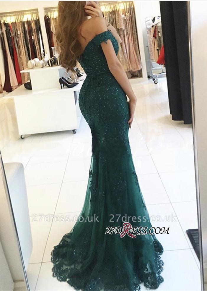 Off-the-Shoulder Appliques Lace Charming Dark-Green Mermaid Evening Dress UK BA3809