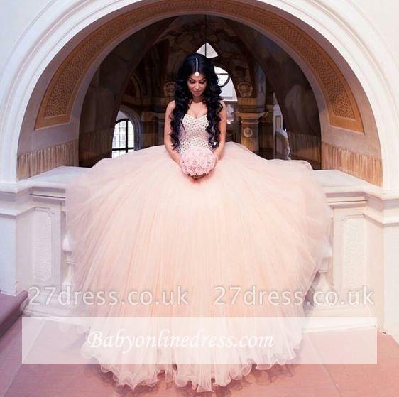 Sleeveless Sweetheart-Neck Puffy Crystals Arabic Wedding Dresses UK