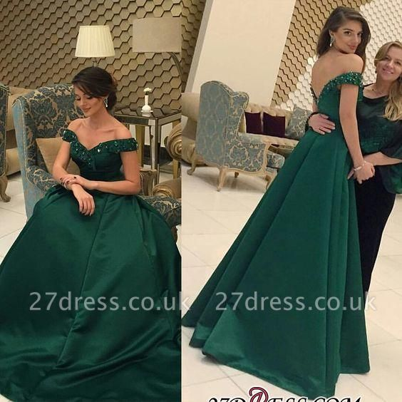 Beaded A-line Formal Dark-Green Off-the-Shoulder Evening Gown BA6508