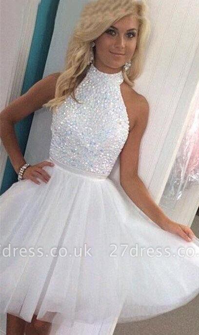 Newest White Halter Beading Homecoming Dress UK Mini Sleeveless Zipper